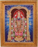 BM Traders Silver Zari Work Photo Of Tirupati Balaji In Golden Frame Showpiece  -  35.56 cm(Wooden, Multicolor)