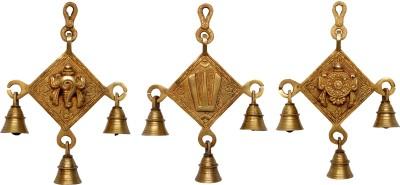 Aakrati Shankh Chakra Namah Wall Hanging Showpiece - 20 cm(Brass, Yellow)