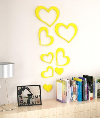 Home Sparkle Set of 8 Wooden Hearts Stickers Showpiece  -  15.24 cm(Wooden, Yellow)