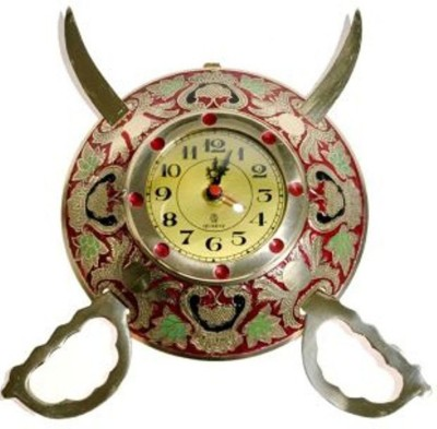 Bajya Rajasthani Real Brass Sword Armour Wall Clock Showpiece  -  8 cm(Brass, Gold)