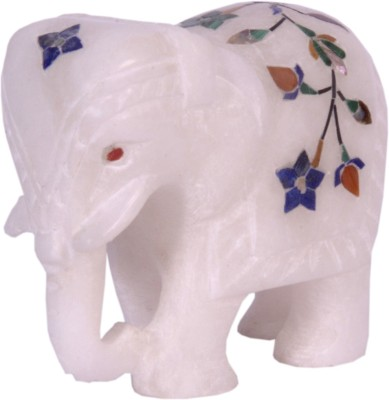 Avinash Handicrafts White alabaster inlaid Elephant Showpiece  -  6.5 cm