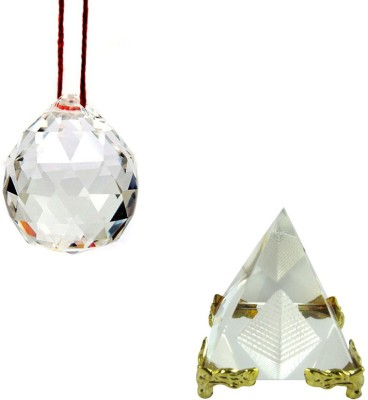 Shakti Education Pyramid and Crystal Ball For Academic Success Showpiece  -  5 cm