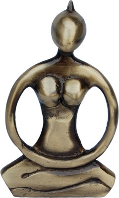 Aakrati Figure Of Sitting Lady Brass Made Sculpture With Candle Holder Showpiece  -  12.7 cm(Brass, Brown)
