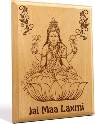 Tiedribbons Jai Maa Laxmi Engraved Plaque Showpiece  -  18 cm(Wooden, Brown)