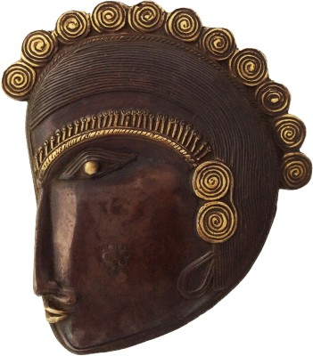 Aakrati Hanging Wall Face Showpiece  -  18 cm(Brass, Gold)