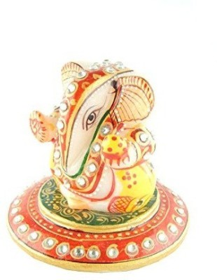 Chave Marble Ganesha with round base and real hand painting of rajasthan (Ganesha Height - 3