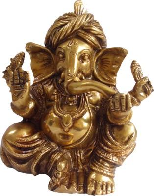 Quality Mart Quality Mart Pagdi Ganesh Gold Statue Showpiece  -  16 cm