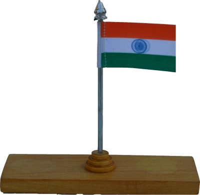 eCraftIndia National Flag on Wooden Block Showpiece  -  13.97 cm
