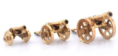 Inspiration World Vintage Mini Brass Canon Set / 3 Pcs Showpiece  -  9 cm(Brass, Yellow)