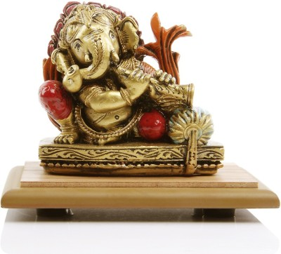 Adaa Lord Ganesha playing flute (Orange) Showpiece  -  10 cm