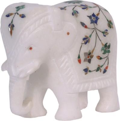 Avinash Handicrafts White alabaster inlaid Elephant Showpiece  -  10 cm