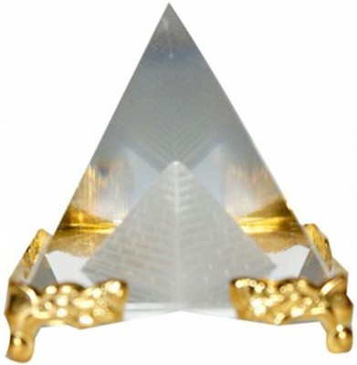 Gooddeals Crystal Pyramid Paper Weight With Stand Medium Size Showpiece  -  5 cm