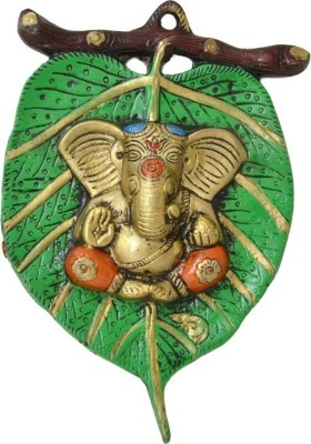 EtsiBitsi Divine Green Peepal Patta Ganesha Showpiece  -  21 cm