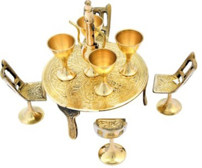 Homestyle India Brass Handcrafted Table-Chairs Set With Glasses & Surahi Showpiece - 13 cm