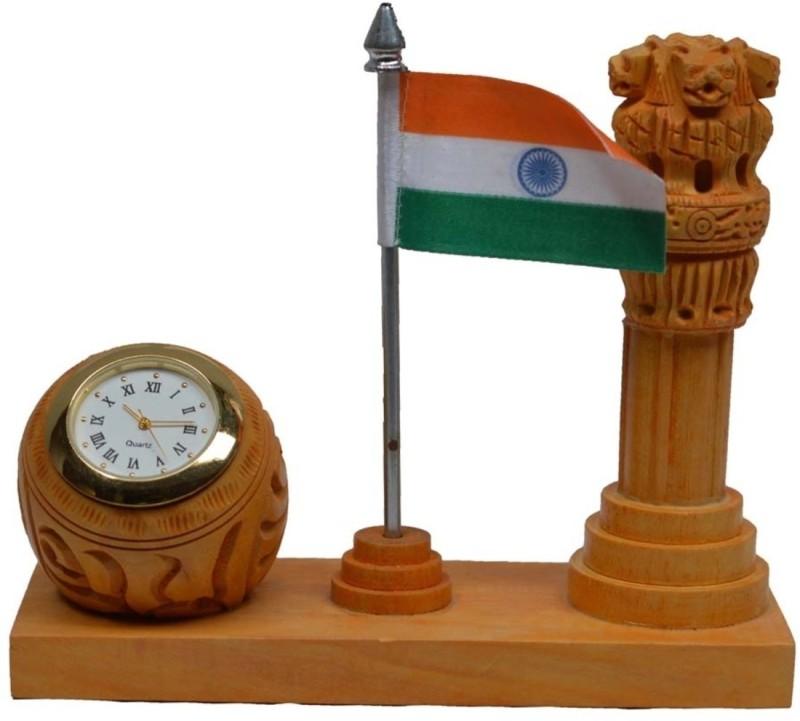 JaipurCrafts Ashoka Piller With National Flag & Clock Showpiece -...