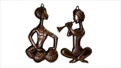 Bharat Haat Rajasthani Musical Pair Showpiece  -  43 cm(Brass, Yellow)