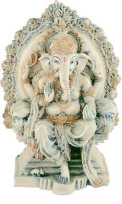 EtsiBitsi EtsiBitsi Singhasan Ganesha in Antique Look Showpiece  -  18 cm