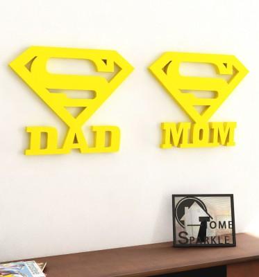 Home Sparkle Super Mom & Dad Wooden Wall Sticker Showpiece  -  15.24 cm