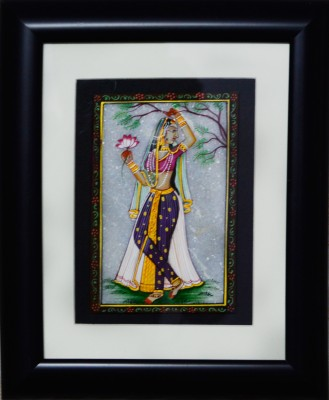 eCraftIndia Ragini with Lotus Marble Painting (Wooden Framed) Showpiece  -  27.94 cm(Stoneware, Wooden, Multicolor)