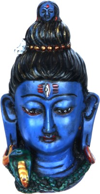 Adaa Beautiful Lord Shiva Face Statue (Blue) Showpiece  -  10 cm