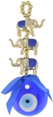 JPS Retail Glass Feng Shui 3 Elephants Evil Eye Wall And Car Hanging Showpiece  -  15 cm