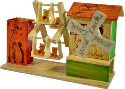 N-Decor Showpiece  -  10 cm(Wooden, Multicolor)