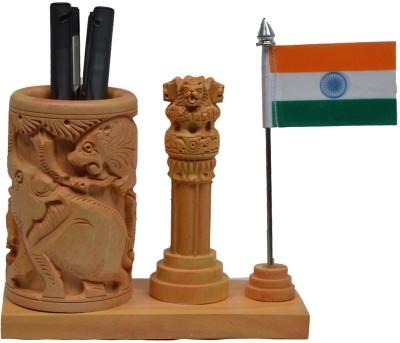 eCraftIndia Ashoka Pillar and National Flag 1 Compartments Wooden Pen Stand