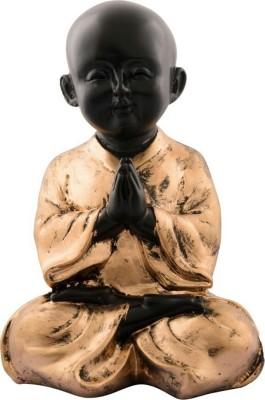 Divinecrafts Golden Praying Child Monk Showpiece  -  20.35 cm(Polyresin, Gold)