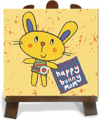 Tiedribbons Happy Bunny Mom Tile Showpiece  -  28 cm(Ceramic, Multicolor)