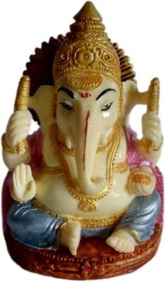 Heeran Art Religious Idols Of Mukut Lord Ganesha Gajanan Ganpati Statue Small Showpiece  -  9 cm