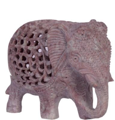 Avinash Handicrafts soap stone Fine threecut Elephant Showpiece  -  8 cm