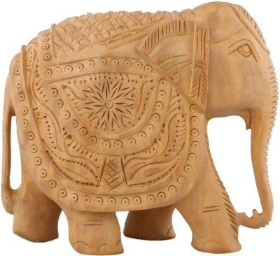Authentic India Wooden Solid Carving Elephant Showpiece  -  12.7 cm