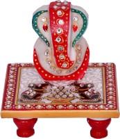 Vaah Meenakari Ganesh Rat Marble All Purpose Chowki(Multicolor, Pack of 2)