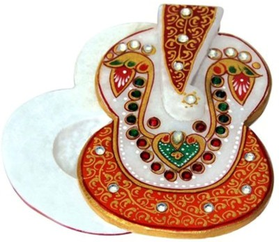 Handicrafts Paradise Ganesh Marble Chopra Kundan Studded Showpiece  -  3.7 cm