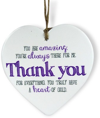 Archies Thank You For Everything Heart Quotation Showpiece  -  15.3 cm(Ceramic, White)