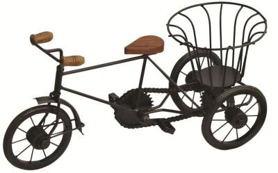 Crafts,man Metal Rickshaw Basket Holder Showpiece  -  24 cm(Iron, Black)