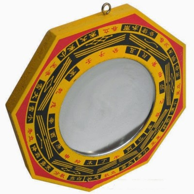 Vastughar Bagua Mirror ( 4 X 4 Inches ) For Good Fortune And Protection Showpiece  -  10.16 cm(Wooden, Multicolor)