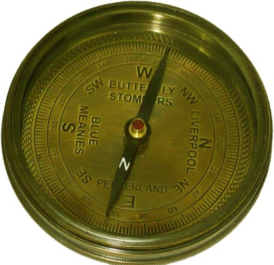 Bharat Haat Nautical Finder Compass Showpiece  -  9 cm(Brass, Glass, Yellow)
