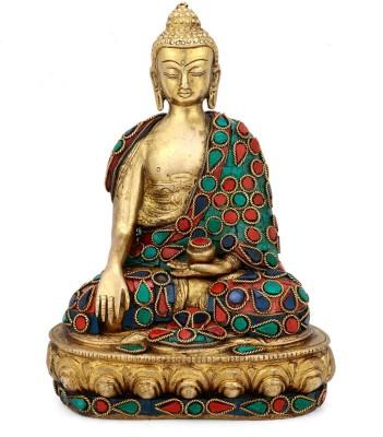 Collectible India Brass Earth Touching Large Buddha Statue Tibetan Religious Sculpture Spiritual Home decor Showpiece - 20.0 cm