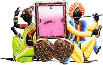 DIZIONARIO Wrought Iron Music Playing Couple Decorative Wall Clock Hanging 61.5x41cm Showpiece  -  41 cm