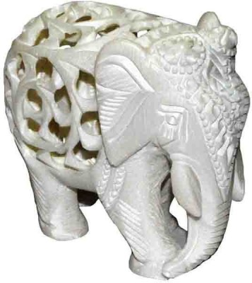 Pooja Creation Marble Stone Elephant Unique Pieces Showpiece  -  11 cm