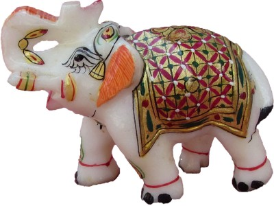 eCraftIndia Saluting Hand Painted Elephant Showpiece  -  7.7 cm