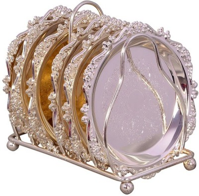 Indigocart Indigocart Decorative Silver Plated Coasters With Stand Showpiece  -  6 cm