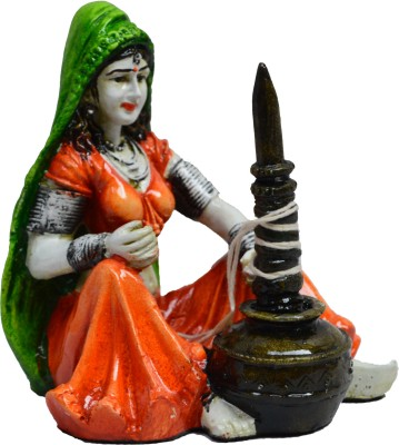 eCraftIndia Rajasthani Lady using Makhan Handi Showpiece  -  15.24 cm(Polyresin, Multicolor)