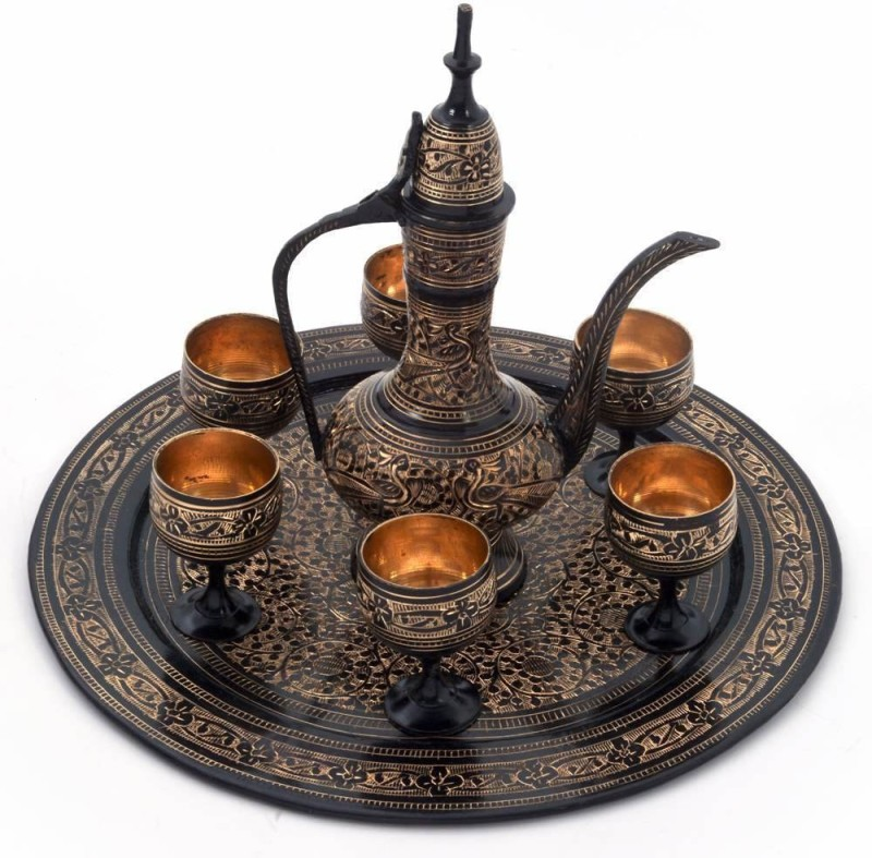 Creative Handicraft Antique Black Royal Wine Set Pure Black Brass Surahi(0.09 L)