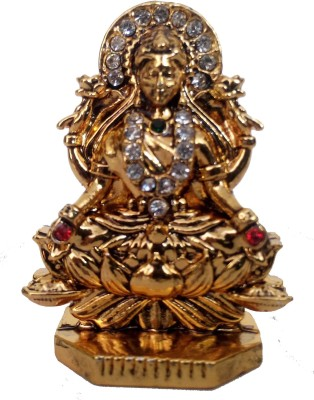 Divyas Gold Plated Laxmi Idol For Car Dash Board Or Home DéCor Showpiece  -  6 cm