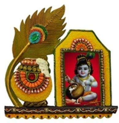 Fab Rajasthan Morpankhi Makhan Kundan Frame Showpiece  -  12 cm
