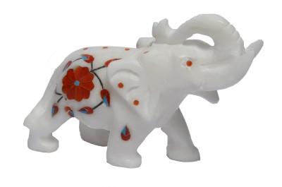 Artist Haat Makrana Marble Inlay Elephant Showpiece  -  9 cm