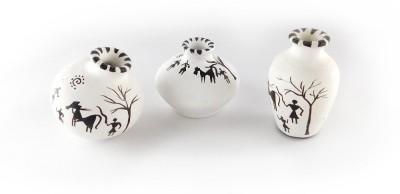 Chave Set of 3 Terracotta Warli Handmade Pot Set - White Colour - Indian Tradition Showpiece  -  7 cm