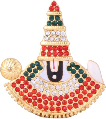 Itzmyfashion Red and Green color Studded Stone Lord Venkatesh Idol Showpiece  -  3 cm